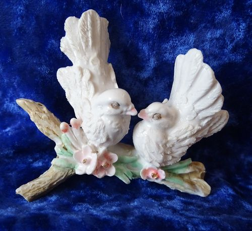 White Resin Doves on a Branch ©
